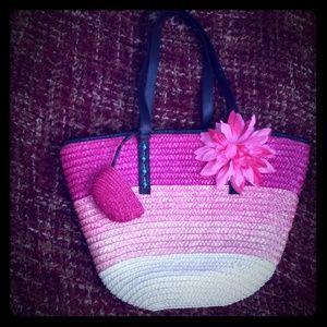 Pink color blocked straw shoulder tote bag